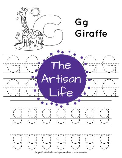 Free printable letter g tracing worksheet with uppercase and lowercase g's and a giraffe to color