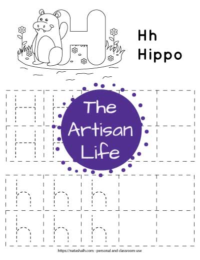 A printable letter h tracing worksheet for young children. There are uppercase and lowercase letter h's in boxes to trace. The top of the page has a waving hippo and a large bubble letter H to color in.