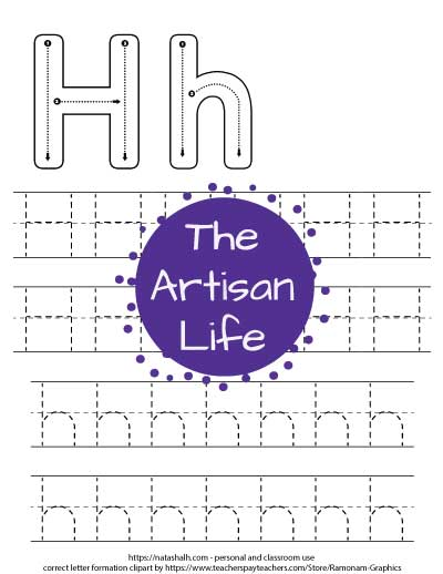Letter h tracing worksheet. There are two lines of uppercase letter H's and two lines of lowercase letter h's to trace. The top of the page has correct letter formation graphics.