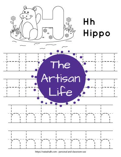 A printable letter h tracing worksheet for young children. There are two lines of uppercase h's and two lines of lowercase h's to trace. The top of the page has a waving hippo and a large bubble letter H to color in.