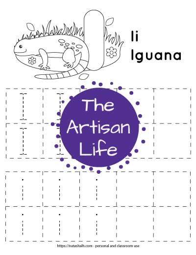 Free printable letter I tracing worksheet with two rows of dotted uppercase I's to trace in boxes and two rows of dotted lowercase i's to trace in boxes. At the top of the page there is an iguana and a large bubble letter I to color.