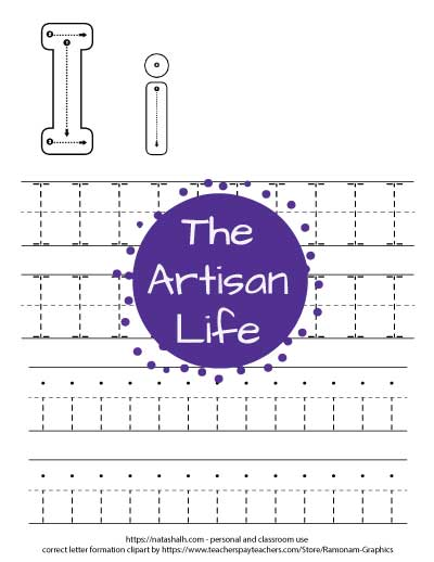Free printable letter i tracing preschool worksheet with two four lines of letter i's to trace. At the top of the page are correct letter formation graphics for uppercase and lowercase i