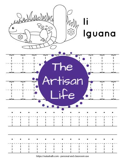 Free printable letter I tracing worksheet with two rows of dotted uppercase I's to trace and two rows of dotted lowercase i's to trace. At the top of the page there is an iguana and a large bubble letter I to color.
