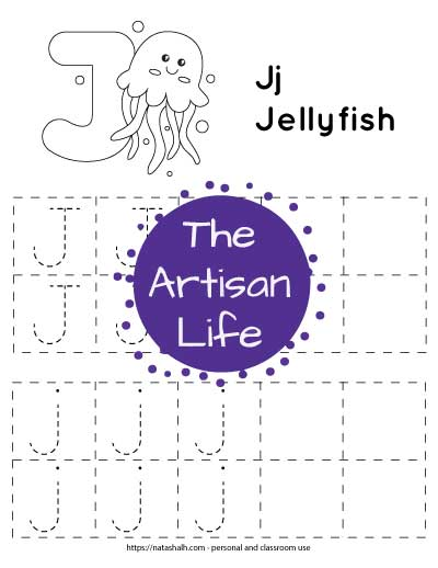 Printable letter j tracing worksheet with dotted letter j's to trace in boxes. There is a jellyfish to color at the top of the page.
