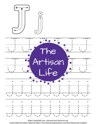 Printable tracing worksheet for the letter j. There are correct letter formation graphics for uppercase and lowercase j's at the top of the page. Below are four lines of j's in a dotted font to trace.