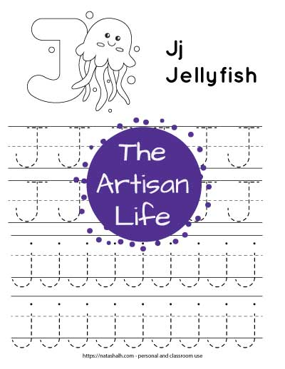 Printable letter j tracing worksheet with four lines of dotted letter j's to trace. Half are uppercase and half are lowercase. There is a jellyfish and a large bubble J to color at the top fo the page.