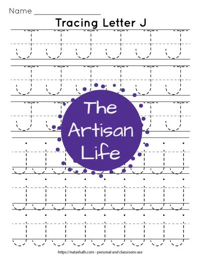 Printable letter j tracing worksheet with six lines of j's in a dotted font to trace. Half are uppercase and half are lowercase