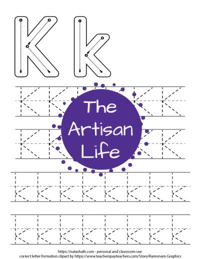 Free printable letter k tracing worksheet with correct letter formation graphics, two lines of dotted uppercase letter k's to trace, and two lines of lowercase k's.