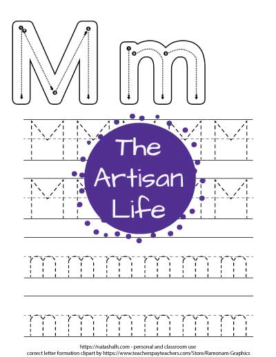 Printable letter m tracing worksheet with four lines of dotted letter m's to trace. Half are uppercase and half are lowercase. At the top of the page there are correct letter formation graphics for capital and lowercase m