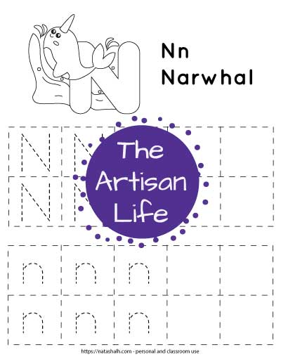 Letter n tracing worksheet with lowercase and uppercase n's in a dotted font in boxes to trace. There are four rows with five boxes in each row. Two boxes per row are blank. At the top of the page is a narwhal to color
