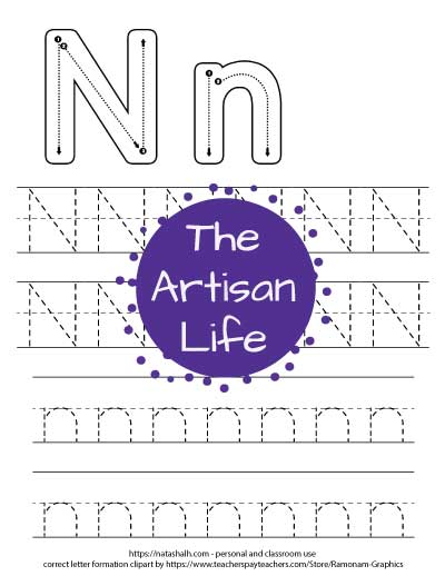 Printable letter n tracing worksheet with four lines of dotted letter n's to trace. Half are uppercase and half are lowercase. At the top of the page there are correct letter formation graphics for capital and lowercase n