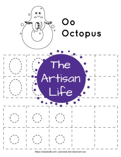"""Letter o tracing worksheet with dotted letter o's in boxes to trace. At the top of the page is an octopus on a large bubble letter o to color and the text """"Oo octopus"""""""