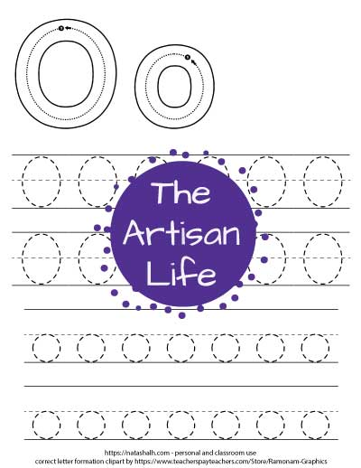 Printable letter o tracing worksheet with four lines of dotted letter o's to trace. At the top of the page there are correct letter formation graphics for uppercase and lowercase letter os'