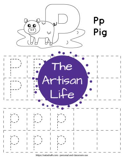 "Letter p tracing worksheet with dotted letter p's in boxes to trace. At the top of the page is a pig with a large bubble letter p to color and the text ""Pp Pig"""