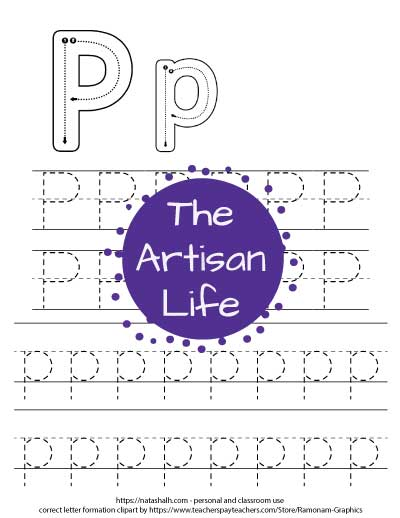 Printable letter p tracing worksheet with four lines of dotted letter p's to trace. At the top of the page there are correct letter formation graphics for uppercase and lowercase letter p's