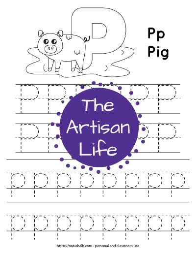 "Letter p tracing worksheet with dotted letter p's on lines to trace. There are two lines of uppercase p and two lines of lowercase p. At the top of the page is a pig with a large bubble letter p to color and the text ""Pp Pig"""