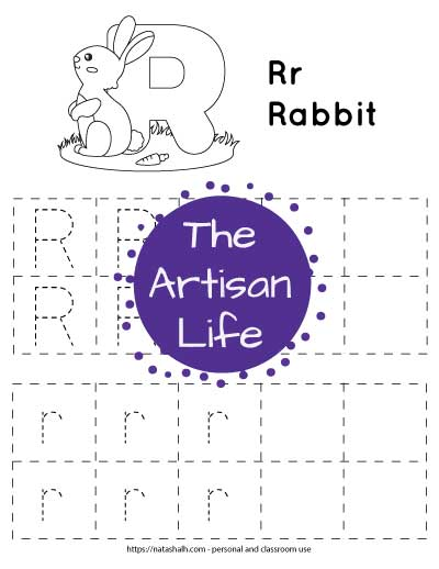 "Letter r tracing worksheet with dotted letter r's in boxes to trace. At the top of the page is a rabbit with a large bubble letter r to color and the text ""Rr rabbit"""