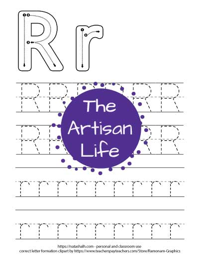 Printable letter r tracing worksheet with four lines of dotted letter r's to trace. At the top of the page there are correct letter formation graphics for uppercase and lowercase letter r's