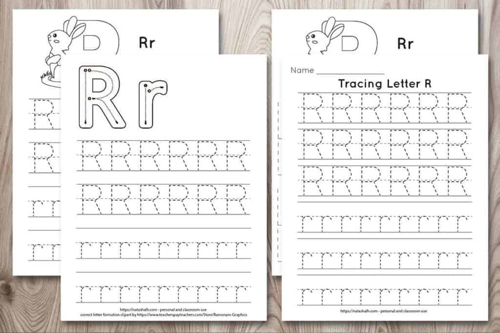 Four printable tracing worksheets for the letter r. Each worksheet features the letter in capital and lowercase in a dotted font for easy tracing. Three worksheets have lines and one worksheet has boxes to fill in with the letter.
