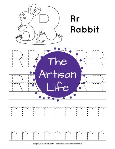 "Letter r tracing worksheet with dotted letter r's on lines to trace. There are two lines of uppercase r and two lines of lowercase r. At the top of the page is a rabbit with a large bubble letter r to color and the text ""Rr rabbit"""