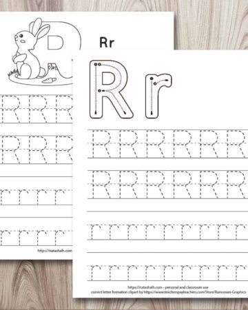 two letter r tracing printable on a wood background. Both have uppercase and lowercase r's to trace. One has a rabbit to color and the other has correct letter formation graphics for uppercase and lowercase r