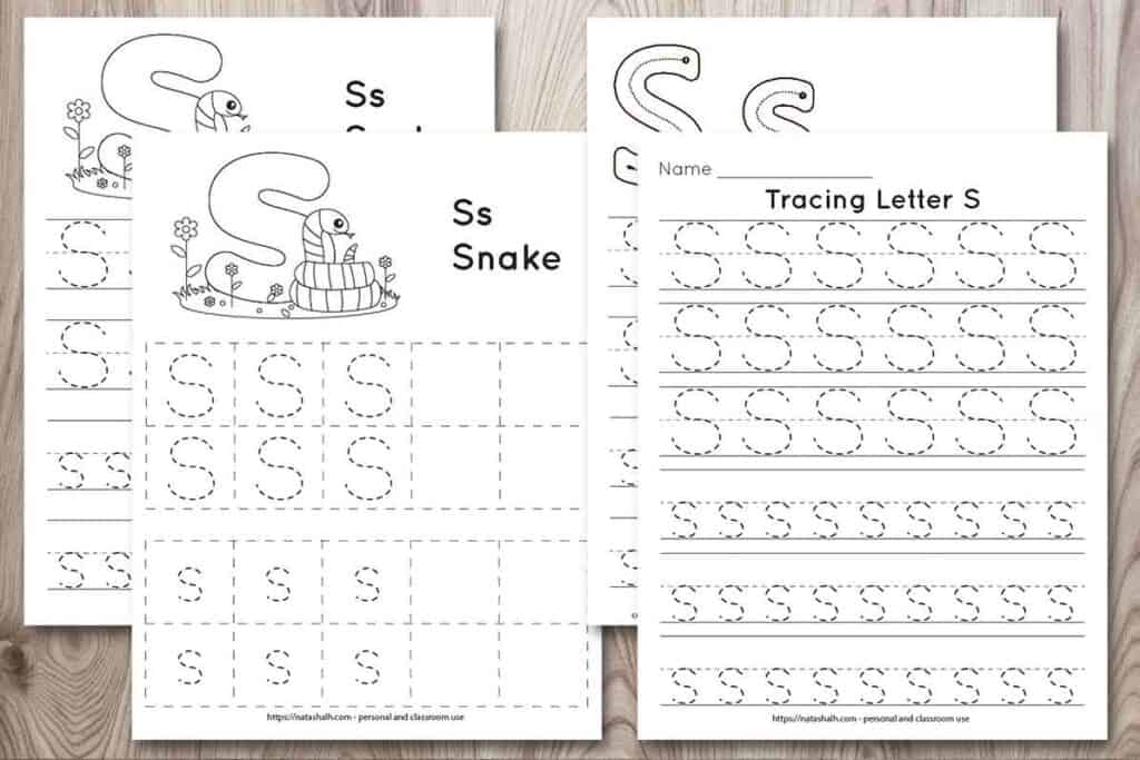 Four printable tracing worksheets for the letter s on a wood background. Each worksheet features the letter in capital and lowercase in a dotted font for easy tracing. Three worksheets have lines and one worksheet has boxes to fill in with the letter. Two of the pages feature a cute cartoon snake to color