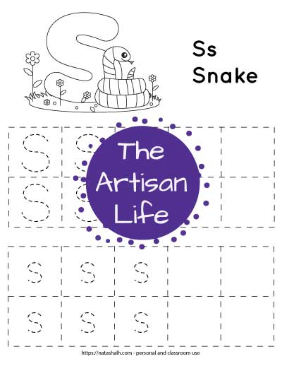 "Letter s tracing worksheet with dotted letter s's in boxes to trace. At the top of the page is a snake with a large bubble letter s to color and the text ""Ss Snake"""
