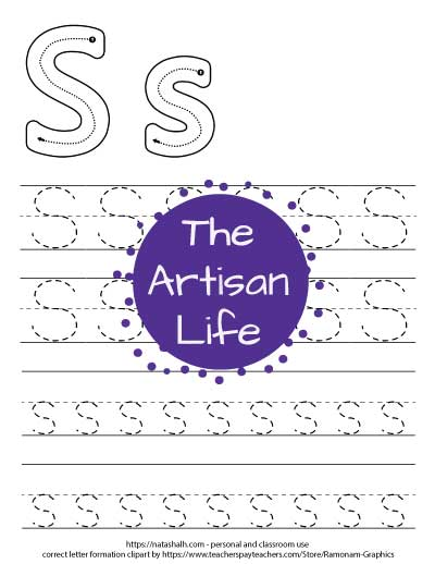 Printable letter s tracing worksheet with four lines of dotted letter s's to trace. At the top of the page there are correct letter formation graphics for uppercase and lowercase letter s's