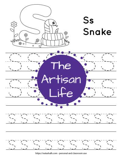 "Letter s tracing worksheet with dotted letter s's on lines to trace. There are two lines of uppercase s and two lines of lowercase s. At the top of the page is a snake with a large bubble letter s to color and the text ""Ss snake"""