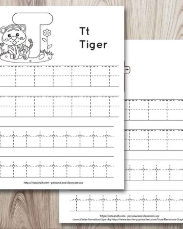 Two letter t tracing worksheets on a wood background. Both have uppercase and lowercase letter t's to trace. One has a tiger to color and the other has correct letter formation graphics for t.