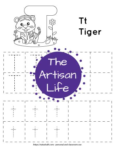 """Letter t tracing worksheet with dotted letter t's in boxes to trace. There are two lines of uppercase t and two lines of lowercase t. At the top of the page is a tiger with a large bubble letter T to color and the text """"Tt tiger"""""""