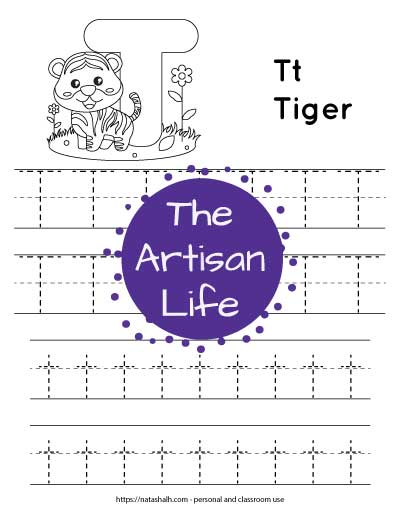 """Letter t tracing worksheet with dotted letter t's on lines to trace. There are two lines of uppercase t and two lines of lowercase t. At the top of the page is a tiger with a large bubble letter T to color and the text """"Tt tiger"""""""