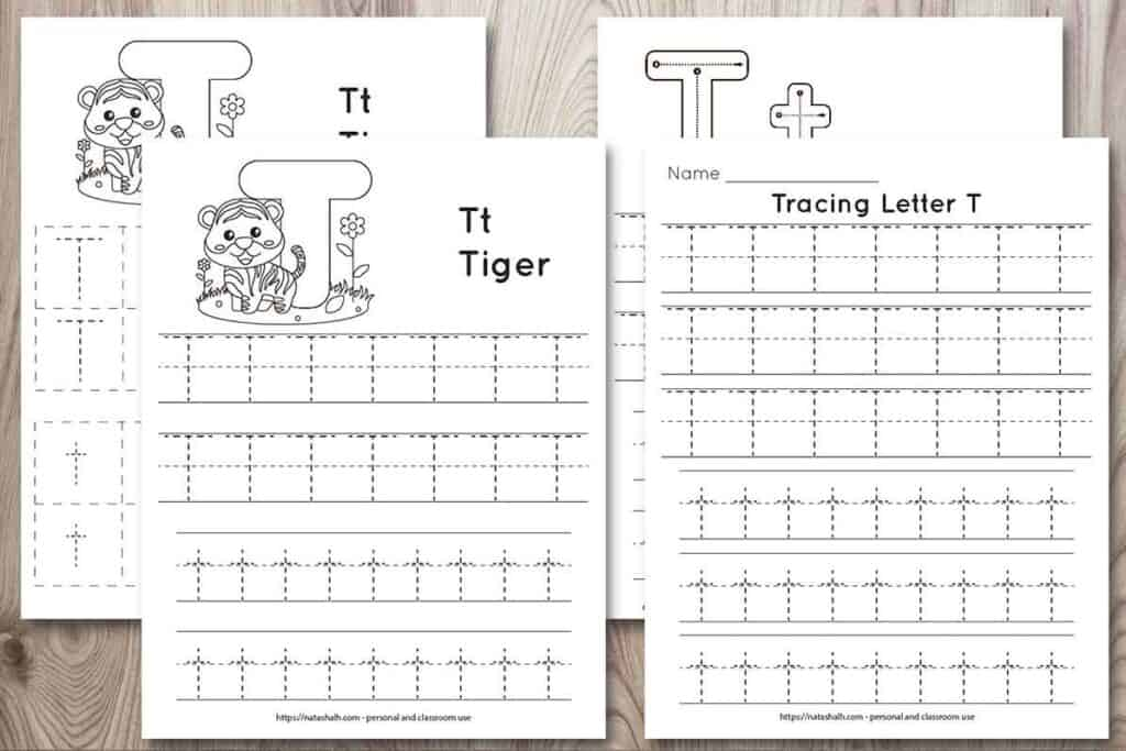 """Four printable tracing worksheets for the letter t on a wood background. Each worksheet features the letter in capital and lowercase in a dotted font for easy tracing. Three worksheets have lines and one worksheet has boxes to fill in with the letter t. Two of the pages feature a cute cartoon tiger to color and the text """"Tt tiger"""""""