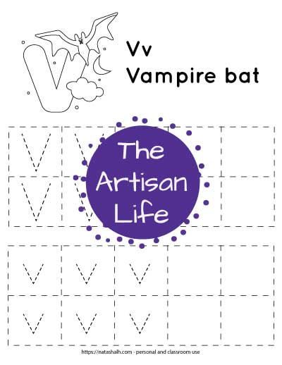 """Letter tracing worksheet with dotted letter v's in boxes to trace. There are two rows of uppercase v and two rows of lowercase v. At the top of the page is a urial with a large bubble letter V to color and the text """"Vv vampire bat"""""""