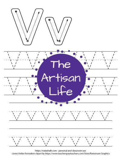 Printable letter v tracing worksheet with four lines of dotted letter v's to trace. At the top of the page there are correct letter formation graphics for uppercase and lowercase letter v's