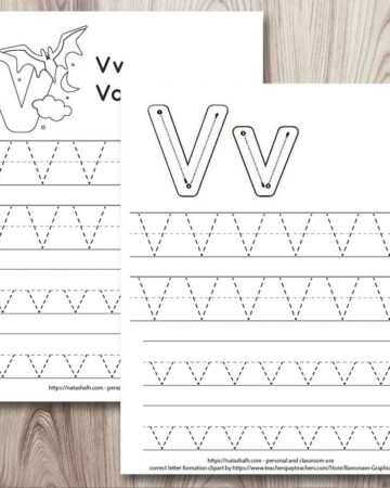 two printable letter v tracing worksheets on a wood background. Both have two lines each of uppercase and lowercase letter v's in a dotted font to trace. One has a vampire bat to color and the other worksheet has correct letter formation graphics for the letter v
