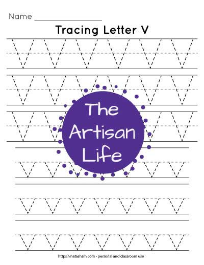 six lines of dotted letter v tracing printable for preschool