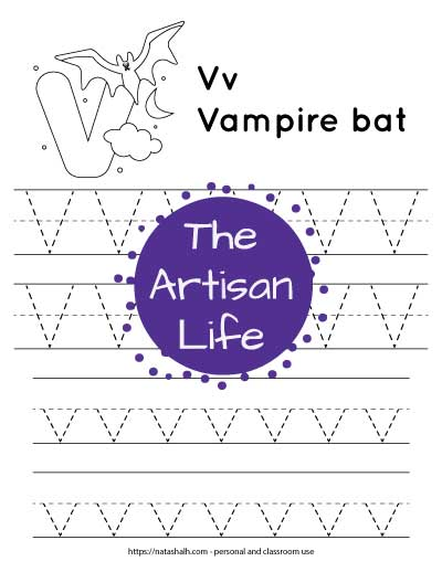 """Letter tracing worksheet with dotted letter v's on lines. There are two rows of uppercase v and two rows of lowercase v. At the top of the page is a urial with a large bubble letter V to color and the text """"Vv vampire bat"""""""