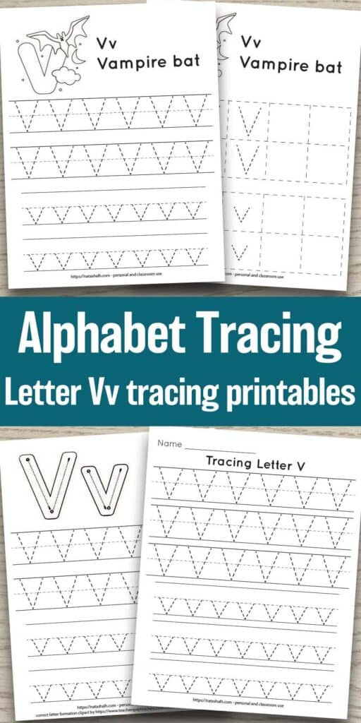 """four free letter v tracing printables on a wood background. Each features uppercase and lowercase letter v's to trace in a dotted font. One has correct letter formation graphics and two have a vampire bat to color and the text """"Vv vampire bat. In the center of the image is the text """"Alphabet Tracing Letter Vv tracing printables"""""""