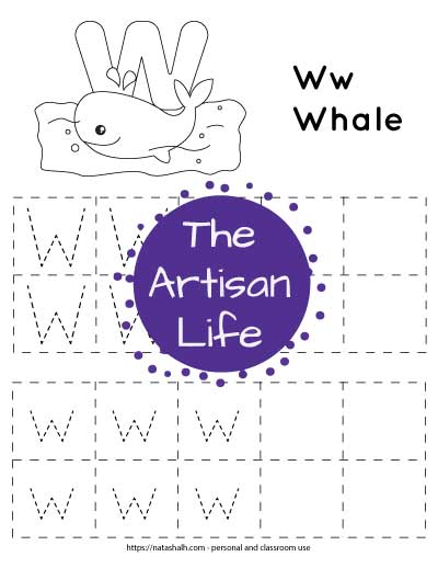 """Letter tracing worksheet with dotted letter w's in boxes to trace. There are two rows of uppercase w and two rows of lowercase w. At the top of the page is a whale with a large bubble letter W to color and the text """"Ww whale"""""""