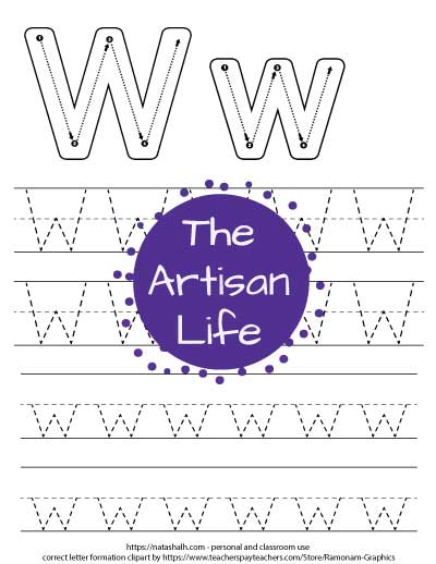 Printable letter w tracing worksheet with four lines of dotted letter w's to trace. At the top of the page there are correct letter formation graphics for uppercase and lowercase letter w's
