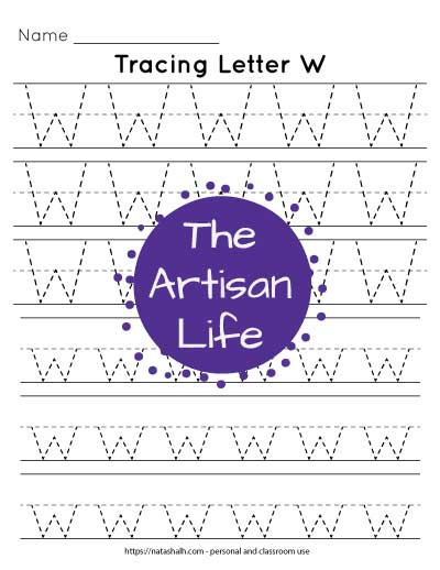 Letter w tracing practice printable with three lines each of uppercase and lowercase w's in a dotted font to trace