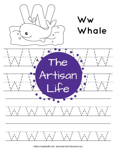"""Letter tracing worksheet with dotted letter w's on lines to trace. There are two lines of uppercase w and two rows of lowercase w. At the top of the page is a whale with a large bubble letter W to color and the text """"Ww whale"""""""