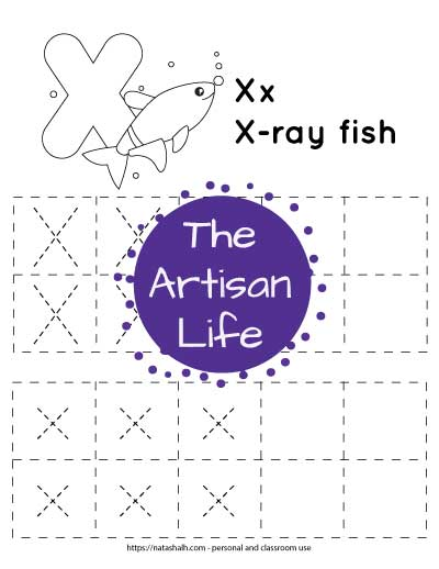 """Letter tracing worksheet with dotted letter x's in boxes to trace. There are two rows of uppercase x and two rows of lowercase x. At the top of the page is a an x-ray fish with a large bubble letter X to color and the text """"x-ray fish"""""""