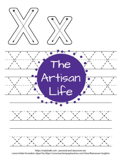 Printable letter x tracing worksheet with four lines of dotted letter x's to trace. At the top of the page there are correct letter formation graphics for uppercase and lowercase letter x's