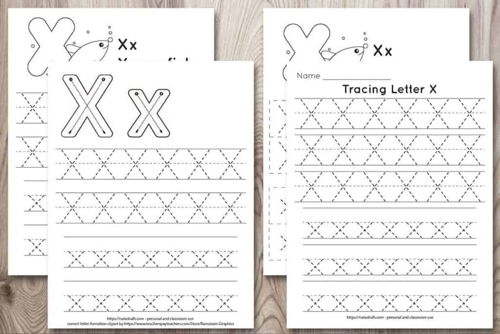 """four free letter x tracing printables on a wood background. Each features uppercase and lowercase letter x's to trace in a dotted font. One has correct letter formation graphics and two have a cute x-ray fish to color and the text """"x-ray fish"""""""