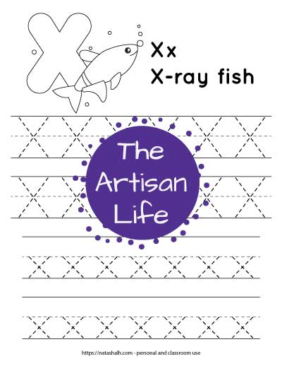 """Letter tracing worksheet with dotted letter x's on lines to trace. There are two lines of uppercase x and two rows of lowercase x. At the top of the page is an x-ray fish with a large bubble letter X to color and the text """"x-ray fish"""""""