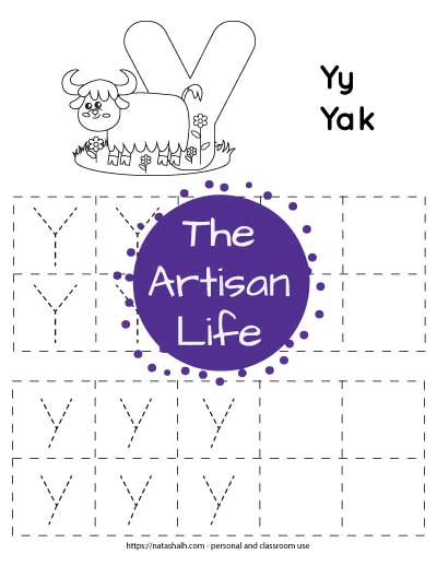 "Letter tracing worksheet with dotted letter y's in boxes to trace. There are two rows of uppercase y and two rows of lowercase y. At the top of the page is a yak with a large bubble letter y to color and the text ""Yy yak"""