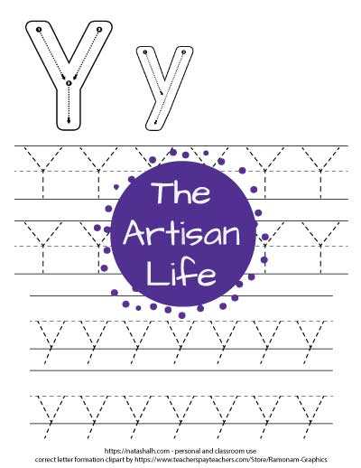 Printable letter y tracing worksheet with four lines of dotted letter y's to trace. At the top of the page there are correct letter formation graphics for uppercase and lowercase letter y's