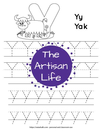 "Letter tracing worksheet with dotted letter y's on lines to trace. There are two lines of uppercase y and two rows of lowercase y. At the top of the page is a yak with a large bubble letter y to color and the text ""Yy yak"""
